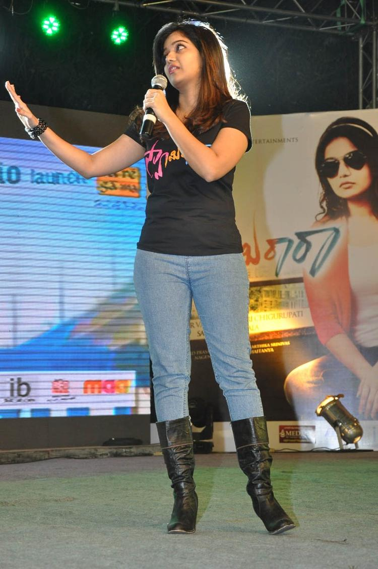 Swati Looked Ravishing In A Jeans And T Shirt At Swamy Ra Ra Audio Release Function