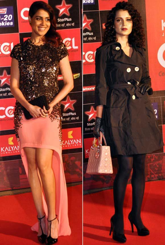 Genelia And Kangana Posed For Camera At Celebrity Cricket League Curtain Raiser 2013