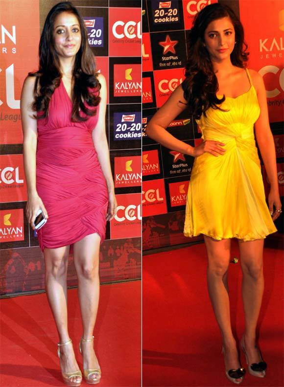 Raima And Shruti  Looked Sexy In Mini Dress At Celebrity Cricket League Curtain Raiser 2013