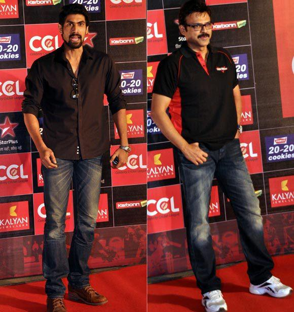 Rana And Venkatesh Snapped At Celebrity Cricket League Curtain Raiser 2013