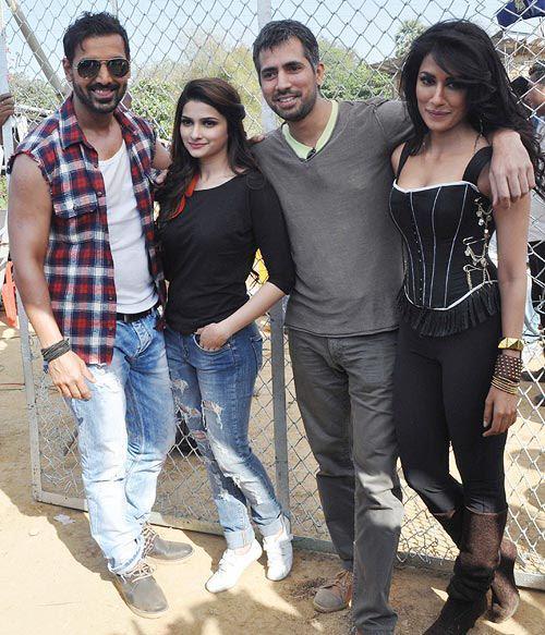John,Prachi And Chitrangada Pose For Camera At I Me Aur Main Shooting Location