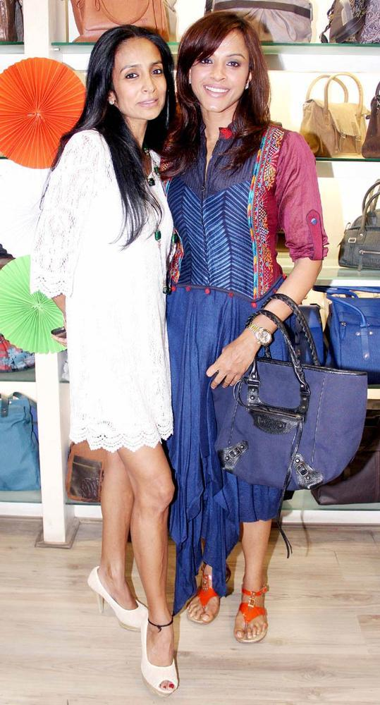 Suchitra And Manasi Smiling Pose At The Launch Of A New Designer Bag Store
