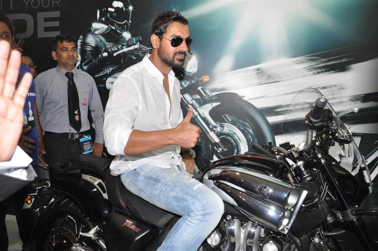 John On Bike Photo At Mumbai International Motor Show Launch