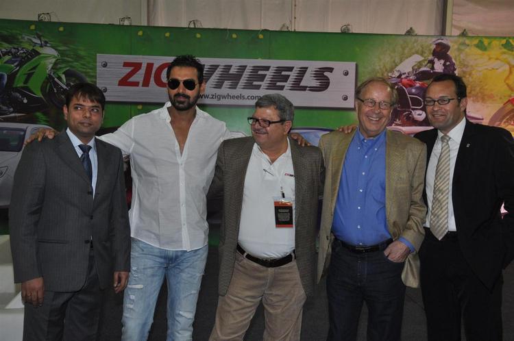John With Guests Pose For Shuterbug At Mumbai International Motor Show Launch