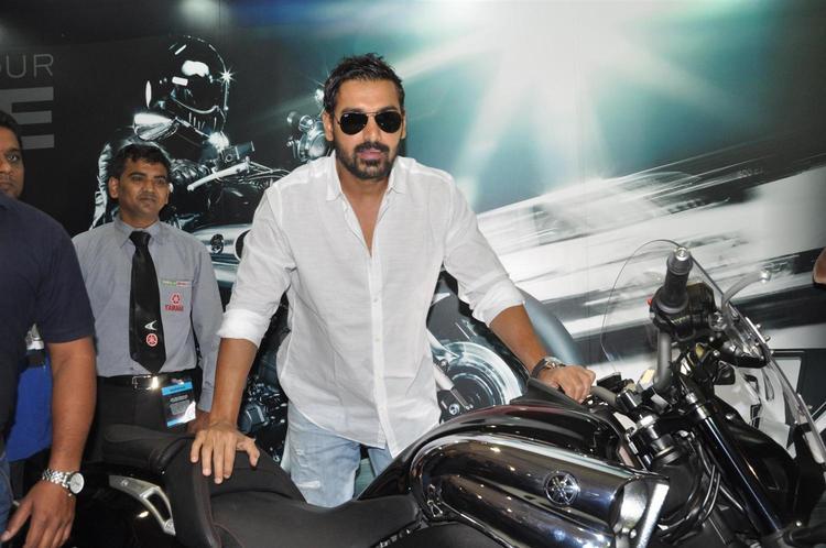 John Pose With Bike At Mumbai International Motor Show Launch