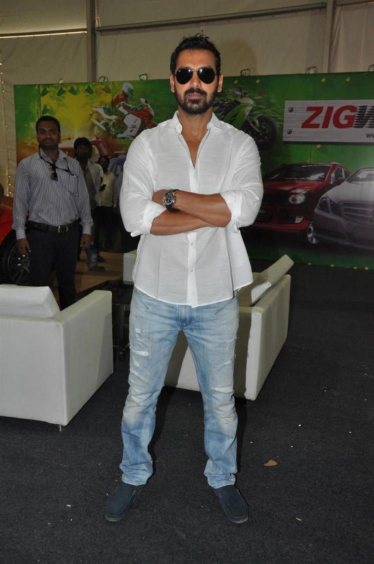 John Stylish Pose For Photo At Mumbai International Motor Show Launch