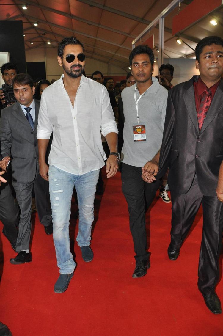 John Walking Photo Clicked At Mumbai International Motor Show Launch