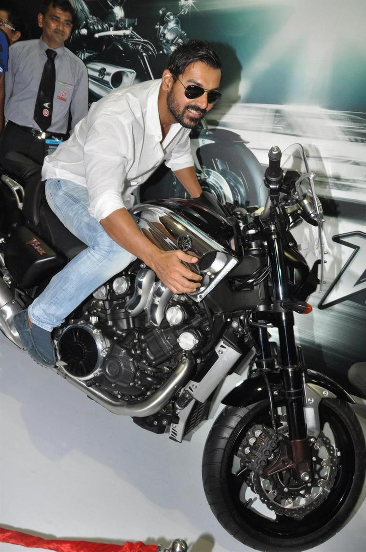 John On Yamaha Bike At Mumbai International Motor Show Launch