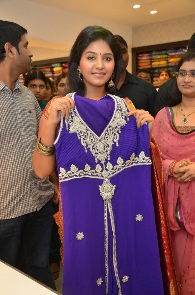 Anjali With A Blue Dress At Womens World Showroom Launch