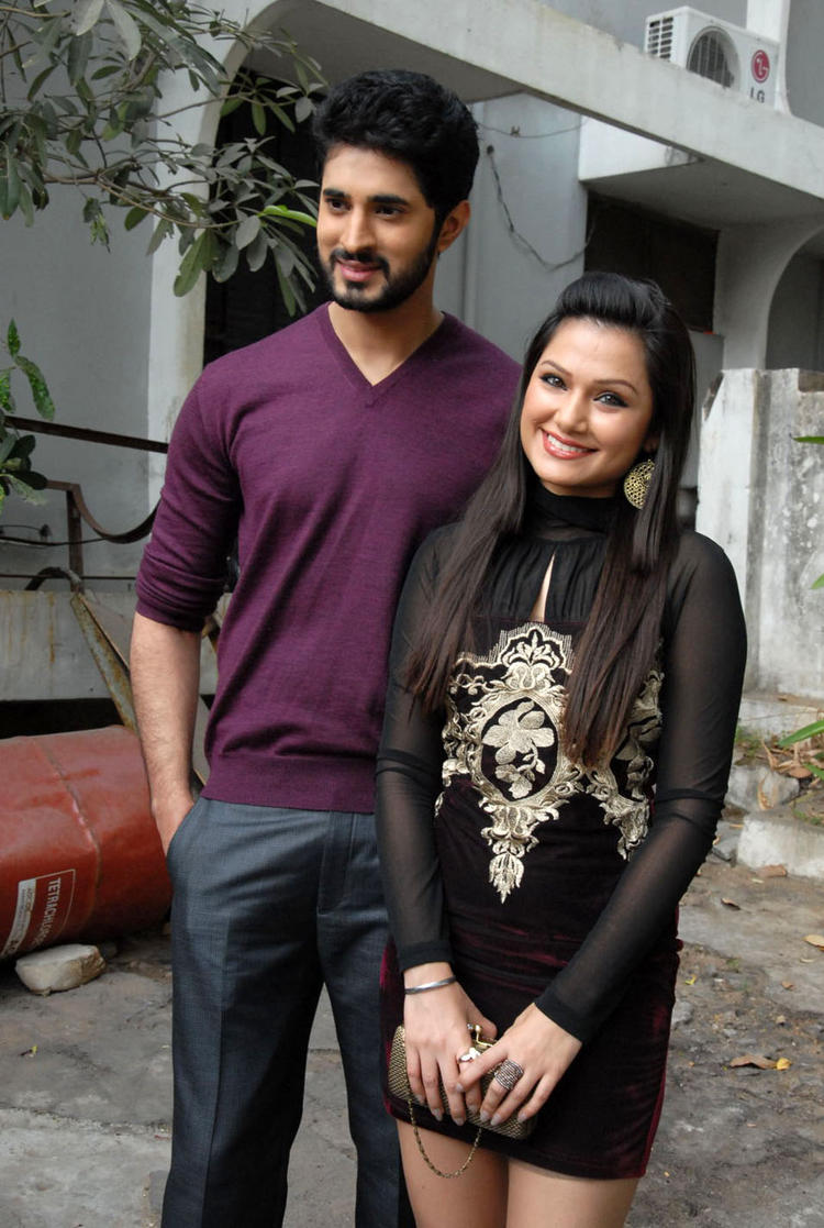 Arvind And Simran Smiling Pose At Biscuit Movie Opening And Puja