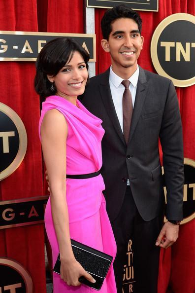 Freida Pinto And Dev Patel Posed At The 19th Annual SAG Awards 2013