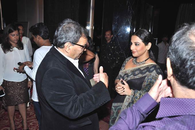 Subhash Has A Chat With Vidya At Subhash Ghai Birthday Bash