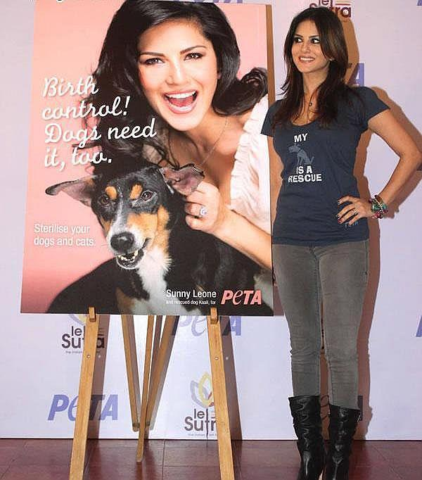 Sunny Leone Posed With A Dog Poster At PETA Adopt Stray Dog Event