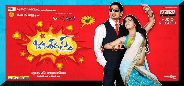 Siddharth And Samantha Dashing Pose Photo Wallpaper Of Movie Jabardasth