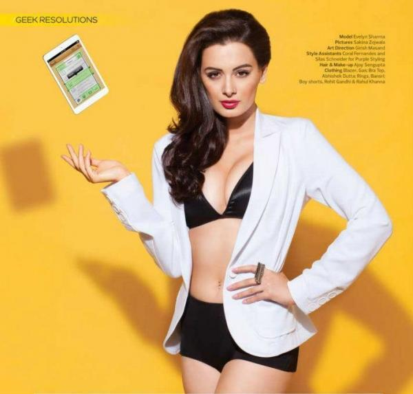 Evelyn Sharma Spicy Look Photo Shoot For Stuff India Feb 2013
