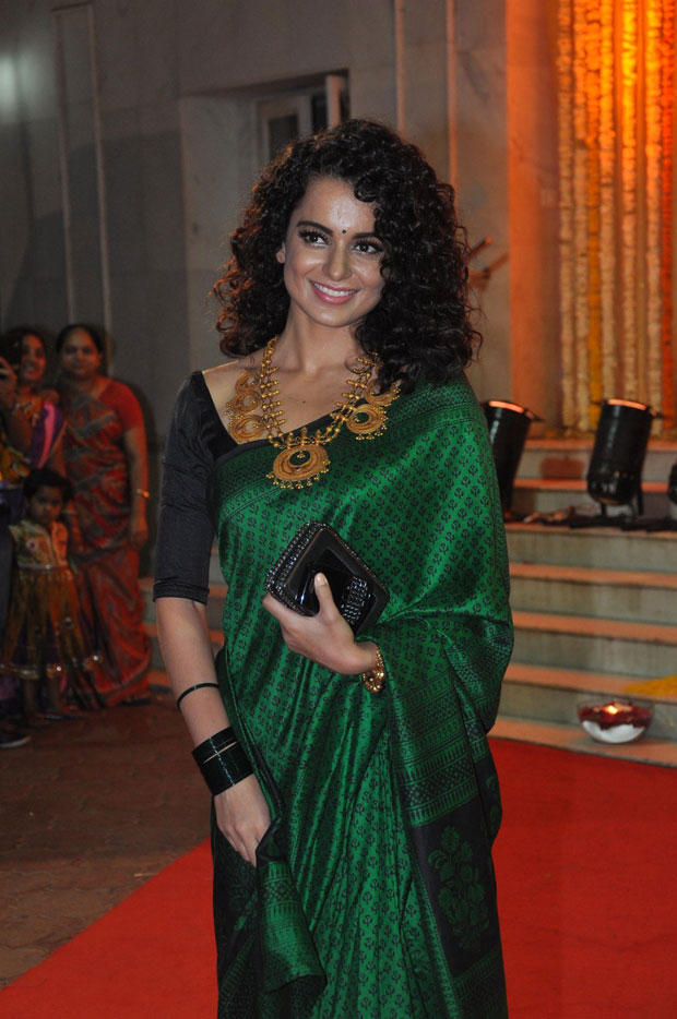 Kangana Complete Her Look In A Green Saree At Udita Goswami And Mohit Suri Wedding Ceremony