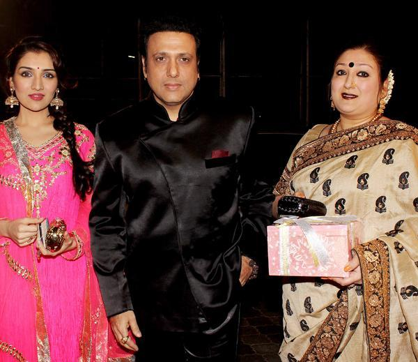 Govinda With Wife Sunita And Daughter Narmada Snapped At Udita Goswami And Mohit Suri Wedding Ceremony
