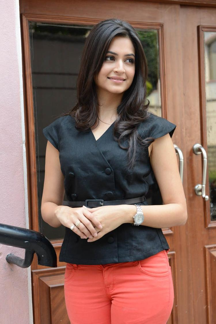 Kriti Kharbanda Cute Smiling Pose At Ongole Githa Press Meet