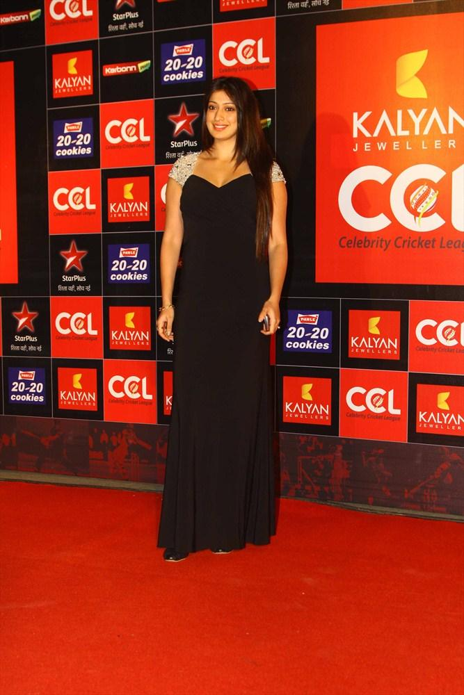Lakshmi Rai Spotted In A Long Gown At CCL 3 Opening Ceremony