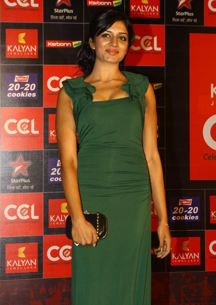 Vimala Cute Look Pose In A Simple Gown At CCL Season 3 Curtain Raiser