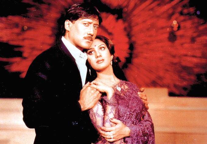 Jackie Shroff And Meenakshi Sheshadri Cool Romantic Movie Still