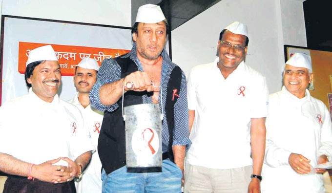 Jackie Shroff With Dabbawallas Smiling Cool Still