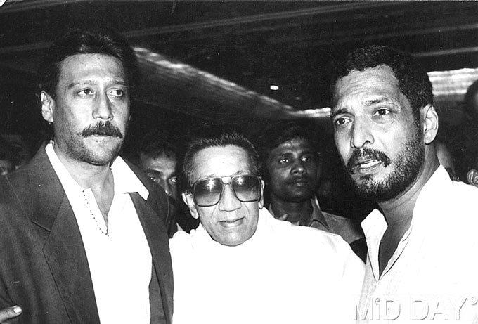 Jackie Shroff With The Late Bal Thackeray And Nana Patekar Rare Pic