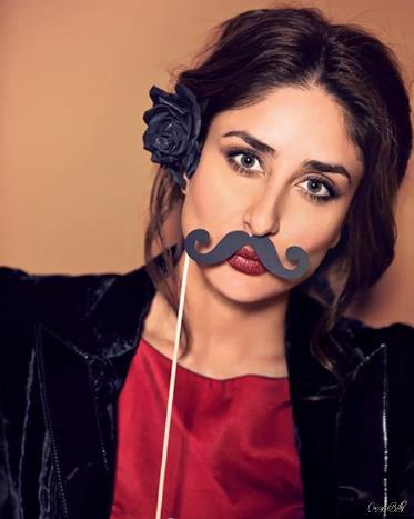 Kareena With Mustache Funny Look Photo Shoot For Vogue India Magazine Feb 2013