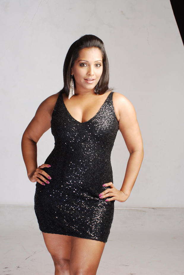 Meghna Naidu Cute Sexy Pose Photo Shoot In A Chick Black Mini Dress