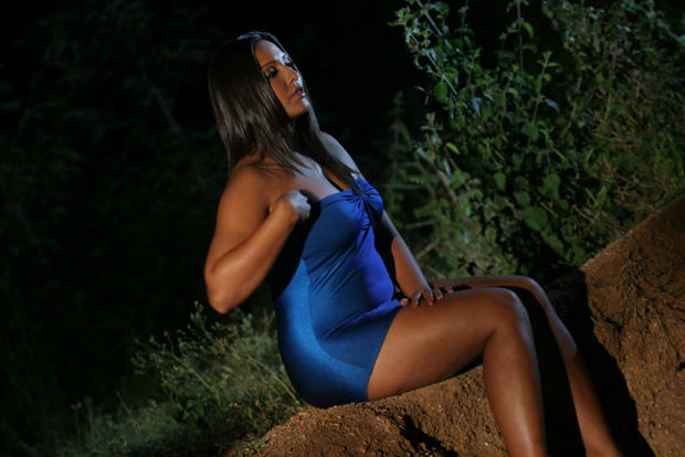 Meghna Sexy Leg Show Photo Still In A Blue Mini Dress