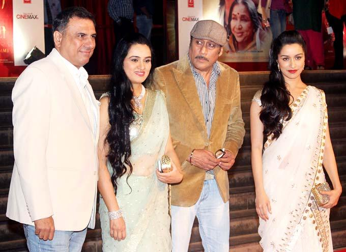 Boman,Padmini,Jackie And Shraddha Posed For Camera At The Premiere Of Mai