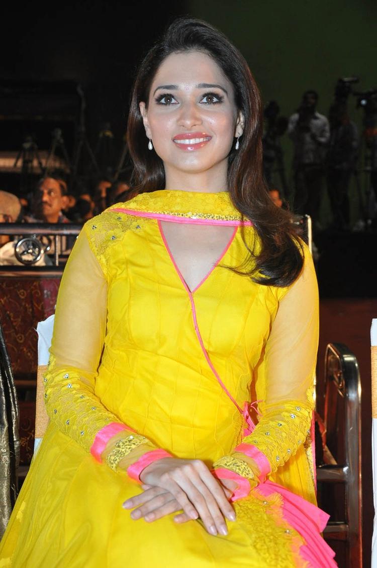 Tamannaah Bhatia Cute smiling Still At Mr Pellikoduku Audio Launch Function