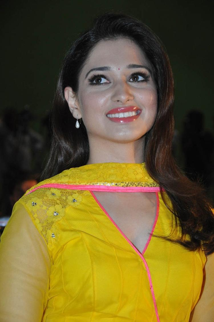 Tamannaah Bhatia Flashes A Smile At Mr Pellikoduku Audio Launch Function