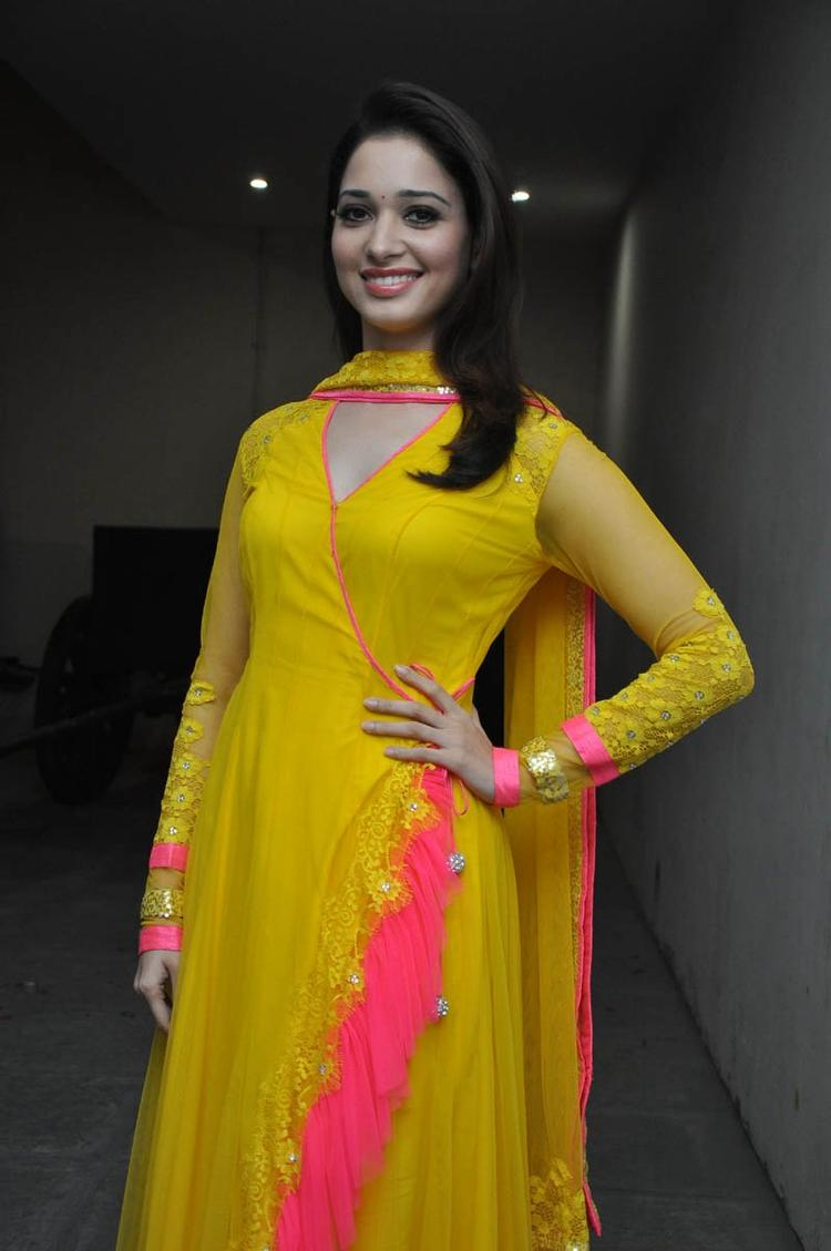 Tamannaah Bhatia Smiling Pose At Mr Pellikoduku Audio Launch Function