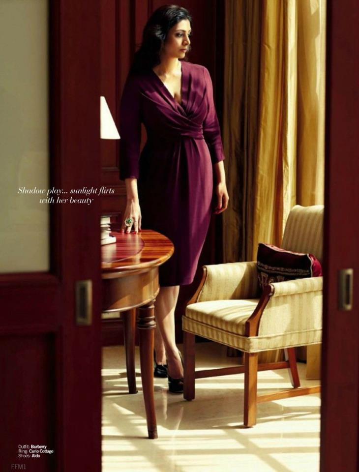 Tabu Sizzling And Attractive Photo Shoot For Filmfare Magazine In A Violet Dress