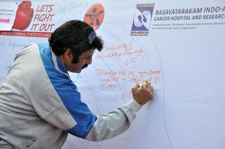 Balakrishna Nandamuri Signatured At Cancer Awareness 2013 Event