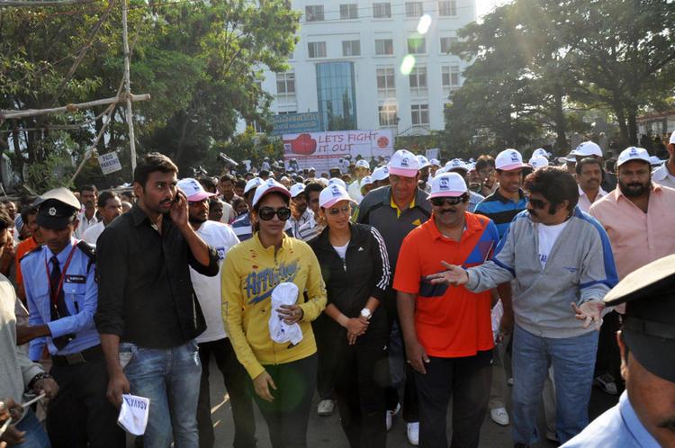 Lakshmi,Balakrishna And Sania Walks For Cancer Awareness 2013 Event