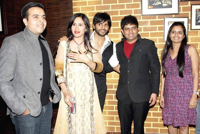 Karanvir And Wife Teejay Pose With Guests At The Launch Of Manoj And Teejay Bohra Production House