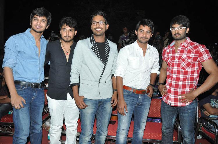 Varun,Aadhi,Nikhil,Tanish And Naga Sudhir Posed For Camera At Abbai Class Ammai Mass Audio Launch Function