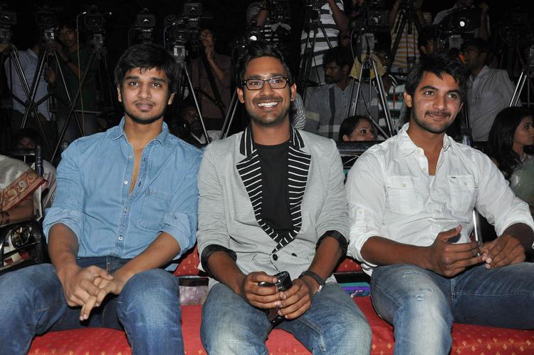 Varun,Nikhil And Aadhi Smiling Pose At Abbai Class Ammai Mass Audio Launch Function