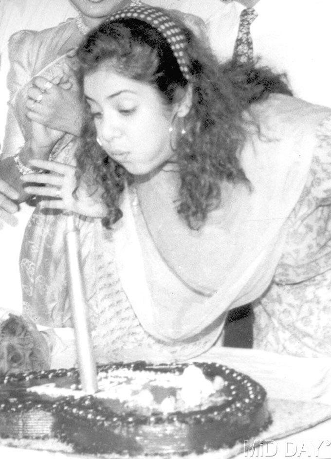 Late Divya Bharti Blows The Candle Of Her Birthday