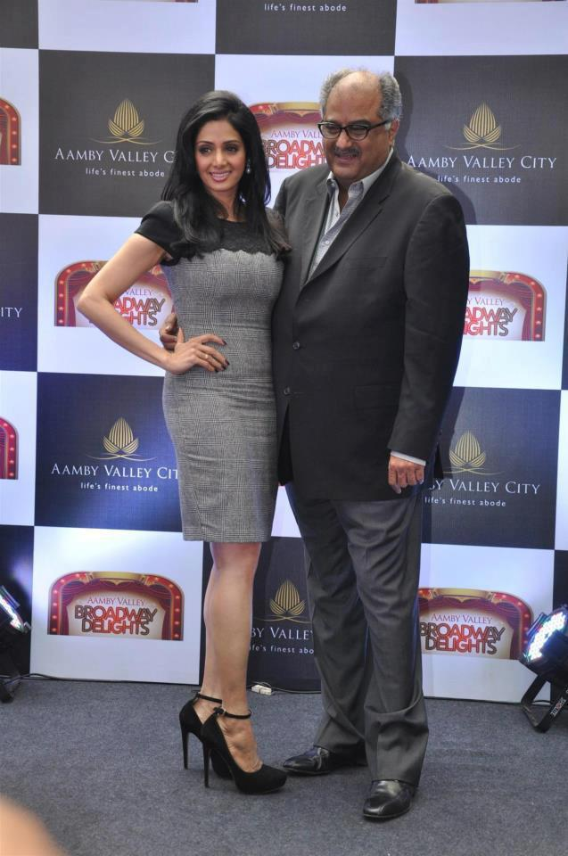 Sridevi With Hubby Boney Posed For Camera At Aamby Valley Broadway Delights Launch