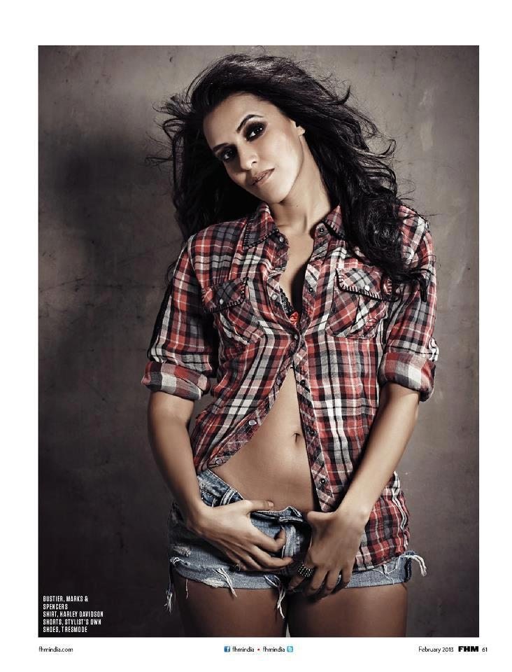 Neha Dhupia Bold Sexy Photo Shoot For FHM India Feb 2013 Issue