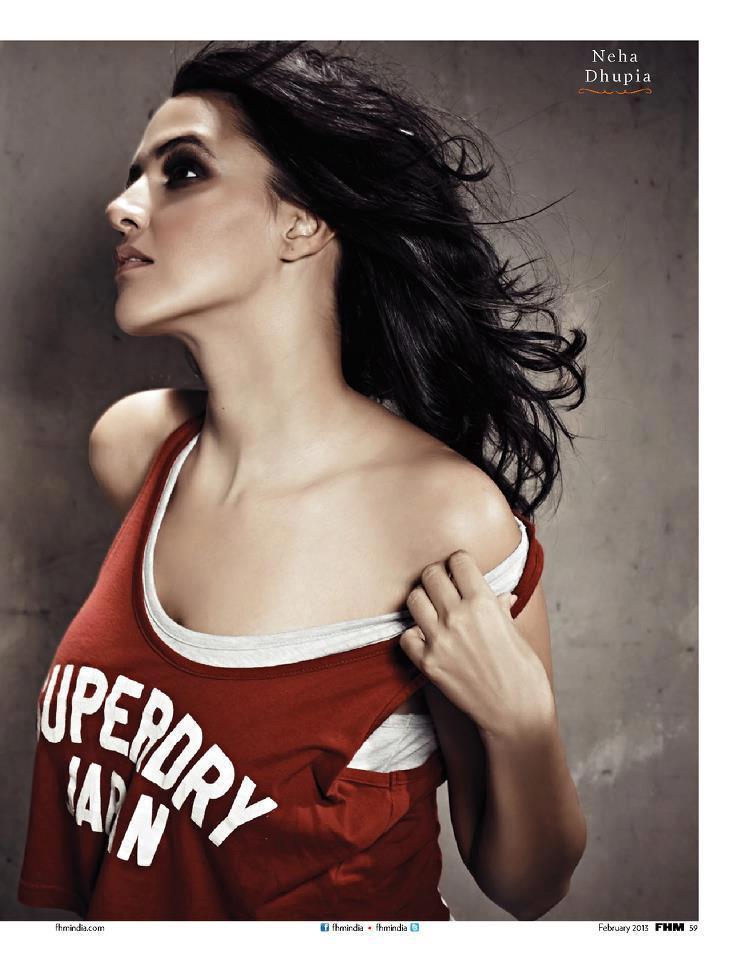 Neha Dhupia Hot Photo Shoot For FHM India Feb 2013 Issue