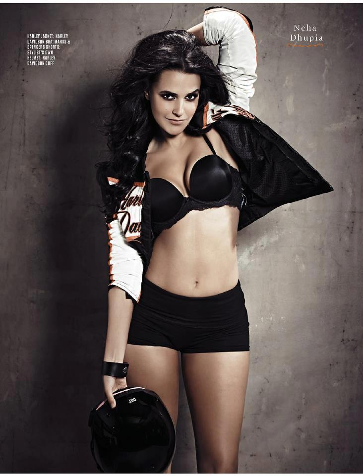 Neha Dhupia Sexy Hot Photo Shoot For FHM India Feb 2013 Issue