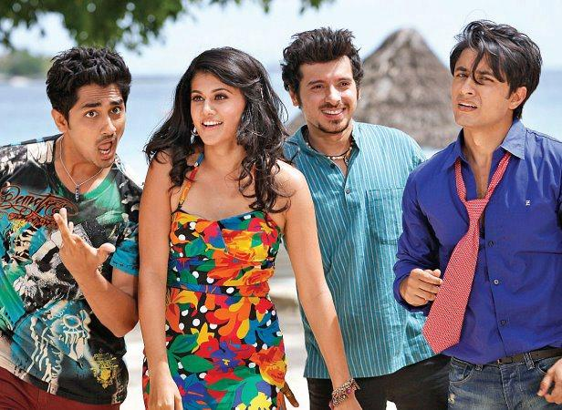 Siddharth,Taapsee,Divyendu And Ali Song Still From Chashme Baddoor Movie