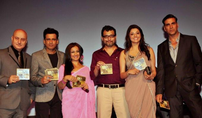 Anupam,Manoj,Divya,Kajal And Akshay Posed With Cds At Special Chabbis Audio Release Function