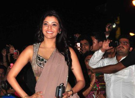 Kajal Posed For Camera At Special Chabbis Audio Release Function