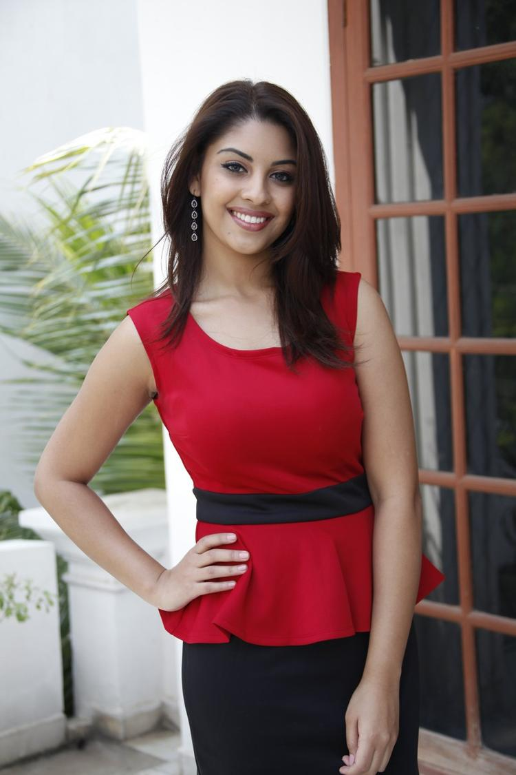 Richa Gangopadhyay In Red Dress Stylish Look At Mirchi Movie Success Meet