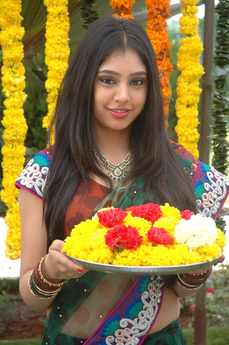 Niti Taylor Cute Smiling Still In Saree From Movie Love Dot Com